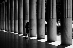 (cherco) Tags: composition composicion canon city ciudad chica columnas columns calle street blackandwhite blancoynegro repetition repeticion lonely luz light lineas silhouette silueta greece atenas woman girl geometry geometric alone arquitectura architecture