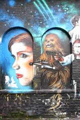 Graffiti in Brick Lane area, Shoreditch (Ian Press Photography) Tags: princess leia chewbacca wookie graffiti streetart street art london shoreditch brick lane artist artists jim vision star wars