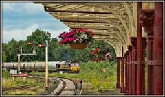 Concrete and petunias (david.hayes77) Tags: 66156 dbcargo dbschenker dbs db hellifield yorkshire 2017 concrete cement 4m00 semaphores shed class66 castlecement freight ews signals