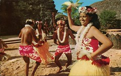Tahitian Dancing Troupe, Polynesian Cultural Center, Hawaii (SwellMap) Tags: postcard vintage retro pc chrome 50s 60s sixties fifties roadside midcentury populuxe atomicage nostalgia americana advertising coldwar suburbia consumer babyboomer kitsch spaceage design style googie architecture polynesian exotica polynesianpop hawaii hawaiiana bar cocktail