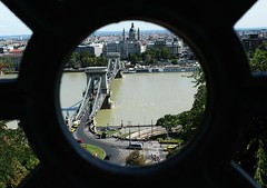 fence (Silvia Aguado Montero) Tags: budapest river bridge hole city people lookout parlament europe hungary focus perspective danubio fence