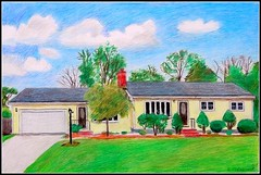 Colored Pencil Drawing Of A Yellow House - Drawing Done by STEVEN CHATEAUNEUF (2017) (snc145) Tags: art artist artists coloredpencil drawing drawings house architecture sky clouds trees bushes grass lawn landscape scenery nature outdoor stevenchateauneuf 2017 lantern driveway garage bright bold vivid flickrunitedaward