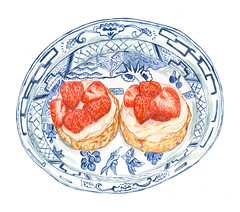 strawberry shortcake (Sharon Farrow) Tags: summer summertime strawberries food foodanddrink foodillustration dessert decorative pattern paint pencil pen painting blue sharonfarrow illustration illustrator illustratedfood fruit