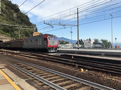 E652 174 nella nuova livrea MRI a Monterosso al mare (SP) (gatto_geom) Tags: e652 tigre tigrone holiday treno rail railway trenomerci sea mare summer trainspotting iphone ferrovie ferroviedellostato mri mercitalia livrea carri carrichiusi