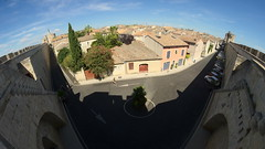 View across the rooftops (tortipede) Tags: sony a58 samyang 8mm fisheye holiday france frança miègjorn occitània aiguesmortes aigasmòrtas fromraw rawtherapee
