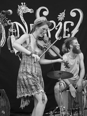 Windspiel (Andrea Rizzi Esk) Tags: music musician ferrara italy europe travel festival buskers celebration violin windspiel drummer violinist girl woman young energy drums black white bw street contrast