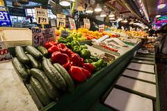 Vegetables at Pike Place Market (Kaylee Brendel) Tags: line color vegetables downtown city washington seattle market pikeplace vendor food