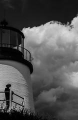 Maine's Lighthouses #2,5: The hat man version (Rabican7) Tags: maine lighthouse monochrome bnw bw blackandwhite clouds photography man shadows extraordinaryskies