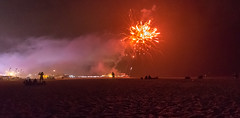 Red... (+Pattycake+) Tags: red fireworks sand beach greatyarmouth night light bang silhouettes display summer