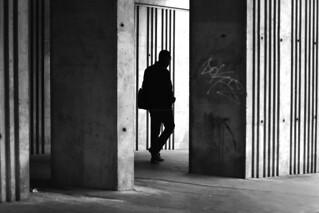 Between concrete blocks