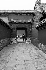 Separation on the way... (Go-tea 郭天) Tags: pékin beijingshi chine cn beijing forbidden city imperial palace ancient candid backside couple 2 together separation separated walking walk back man woman tourist touristic old traditional tradition history historical historic building pavillon door gate middle line pavement backpack street urban outside outdoor people bw bnw black white blackwhite blackandwhite monochrome naturallight natural light asia asian china chinese canon eos 100d 24mm prime young