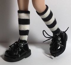 Black and White Striped To The Knee Short Socks...For Blythe...