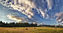 IMG_4660-64Ptzl1scTBbLGER (ultravivid imaging) Tags: ultravividimaging ultra vivid imaging ultravivid colorful canon canon5dmk2 clouds sunsetclouds fields farm landscape latesummer pennsylvania pa panoramic scenic vista rural balesofhay evening