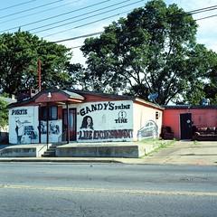 Gandy's Prime Time partie spot (ADMurr) Tags: memphis tn bar club byo across street rolleiflex 28 f kodak portra 160 zeiss planar 6x6 square mf film dab310 handmade signs tarmac