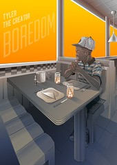 Tyler The Creator - Boredom (Marcos D. Torres) Tags: indoor painting mural paint pintura pintor art artist draw drawing desenho design pen pencil marker spray spraycan paper doodle rabisco rascunho exercise sketch sketchbook caderno outdoor black white yellow orange purple blue red green colorfull pb bw wood glass metal face portrait type letter typography profile hand skull animal tyler creator blade runner ryan gosling harrison ford jared leto rap music rapper movie cinema poster diner restaurant replicants