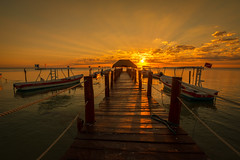 Cancun Sunrise (djrocks66) Tags: sunrise sunset outdoors travel nature water ocean waterscapes oceanscapes mexico cancun beach resort sun golden sand boats fishing fujifilm fuji