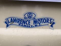 Vintage VW dealer decal. (63vwdriver) Tags: lawrence motors vw volkswagen dealer dealership decal sticker vintage antique