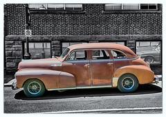 1948 Chevrolet Stylemaster (kenmojr) Tags: 2017 antique atlanticnationals auto car classic moncton newbrunswick show vehicle vintage centennialpark downtown kenmo kenmorris carshow 1948 chevrolet chevy stylemaster bw rusty rust rusted sedan 4door
