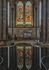 Stained reflection (David Feuerhelm) Tags: nikkor glass stainedglass cathedral water font reflection indoors interior colorefex salisburycathedral nikon d750 2470mmf28 wiltshire church