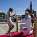 Sailor proposes to his girlfriend during a homecoming arrival.