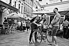 Good Joke (Roi.C) Tags: people peoples bicycle street friends smile happy blackwhite black white blackandwhite nikkor nikond5300 nikon bratislava slovakia candid bw monochrome