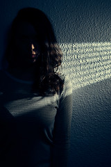 The Light Stripes (elgunto) Tags: portrait light rays woman contrast shadows silhouette flashes homestudio whitewall stripes sonya7 sonyfe55mm18
