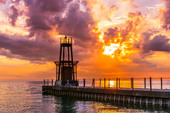 Rusty Lighthouse - Fire in the Sky-1794.jpg (BER Photos 76) Tags: rusty old corroded rust lighthouse explode sunset loyolabeach dawn sony lake mirrorless orange clouds explosion sky illinois sunrise a6000 fire chicago lakemichigan
