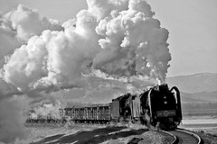 Good Golly Gulamanhan (Bingley Hall) Tags: rail railway railroad transport train transportation trainspotting asia china jitong qj 2102 steam locomotive engine blackandwhite monochrome gulamanhan qj6986