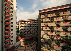 Selegie Flags (Scintt) Tags: singapore national day flags pattern selegie house short street tessellation building architecture structure urban exploration public housing flats apartments homes estate lines city cityscape jon chiang photography scintillation scintt ndp ndp2017 bugis order 17mm tilt shift tse sony a7r pano stitched shapes abstract modern apartment hdb facade light glow dramatic contrast sun shadows patterns laundry walls explore texture evening contrasty directional travel sky clouds