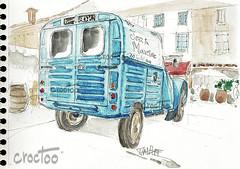 Marciac, la 2cv des vignerons, sur la place (Croctoo) Tags: croctoo croctoofr croquis aquarelle watercolor auto tracteur vélo marciac 2cv citroen camionette