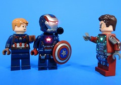 How Could You? (MrKjito) Tags: lego minifig super hero comics comic marvel civil war captain america iron man machine patriot betrayel steve rodgers tony stark james rhodes
