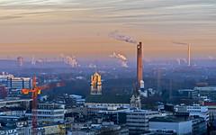 smoky chimney sunrise (Blende1.8) Tags: ruhrgebiet essen cityscape sunrise morning morgen chimney chimneys schornstein schornsteine qualm emissions emissionen sonnenaufgang licht light city nrw urban horizont fernsicht ruhrpott stadtlandschaft carstenheyer industry industrie dom cathedral sony ilce7m2 70300mm