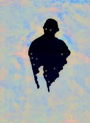 Ma, He's Making Eyes At Me (Steve Taylor (Photography)) Tags: ma hesmakingeyesatme eyes art digital design artgallery blue contrast colourful weird strange odd man newzealand nz southisland canterbury christchurch silhouette ghost
