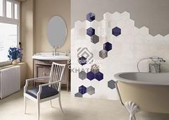 Mảng tường sử dụng lục giác xanh và trắng
