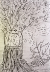 Το αχινόδεντρο (Argyro Poursanidou) Tags: drawing pencil fish seabed seaurchin tree sealife comic fairytale sketch