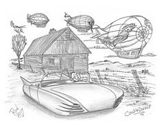 Cockadoodle (rod1691) Tags: bw scifi grey concept custom car retro space hotrod drawing pencil h2 hb original story fantasy funny tale automotive art illistration greyscale moonpies sketch