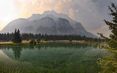 Cascade Mountain Smoke Panorama (John Andersen (JPAndersen images)) Tags: alberta algae banff canada150 cascadepond clouds light mountain smoke summer