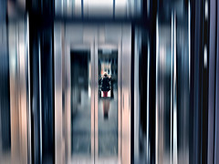 Reflections Inside elevator .... (Eggii) Tags: elevator roof hotel monopol wroclaw reflection blur colours cameraphone iphone7