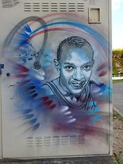 C215 : Jesse Owens (juillet 2017) (Archi & Philou) Tags: c215 pochoir stencil américain usa sport champion portrait homme jesseowens owens athlétisme olympique