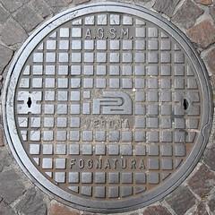 Circled Verona manhole cover (sq#0611) (Navi-Gator) Tags: squaredcircle circle words verona manholecover italy details