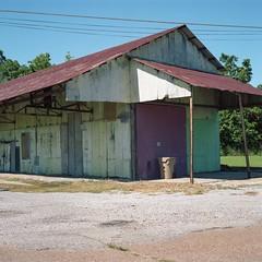 Cotton gin, Mound Bayou (ADMurr) Tags: ms mound bayou cotton gin corrugated building wires blackowned rolleiflex 28 f mf 6x6 120 kodak portra dab193