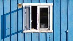 An open window in the morning in Qaqortoq, Greenland (annapodraczky) Tags: shadows sunny sunlight house wall window blue westerngreenland westgrönland grönland greenland qaqortoq