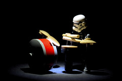 "Within the Spotlight (Alternate shot for ""Whiplash"") (RagingPhotography) Tags: lego star wars imperial galactic empire stormtrooper storm trooper drum sticks drums drummer musical instrument bass dark light lights spotlight darkness plastic minifigure figure minifig toys toy cute funny parody ragingphotography"