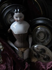 LEAF (china doll, 1870) and Hair Reliquaries, 1872 & 1898 (leaf whispers) Tags: hair reliquary reliquaire cheveux victorian porcelain hertwig kister flattop bodyimage erotic femaleform body woman doll decayedbeauty highbrow poupee ancienne porcelaine parian poupéetêtebuste germandoll madeingermany love civilwar vernissee poupeetetebuste handmadedoll poupée têtebuste porcelainevernissée têtebusteenbiscuitvernissé vintage maker artist light obsolete broken contaboehme altbeckgottschalck abg kling sausagecurls mementomori mourning death antique haunted spirit creepy sinister ghost ghostly macabre old eroticism erotique girl lady toy forsale buy auction dying decay abandoned found macrabre horror scary chiaroscuro highcontrast naked nude