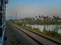 Kovai Exp approaching Salem ! (Vijesh Kannan) Tags: indianrailways kovai express lake window chennai mas cbe salem sa