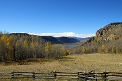 Headwaters of the Rio Grande River (Patricia Henschen) Tags: weminuche wilderness headwaters riogrande riogranderiver riograndenationalforest colorado silverthreadscenicbyway brownlakes weminuchewilderness springcreekpass co149 fallcolors autumn leafpeeping sanjuan mountains mountain rural highcountry river clouds fence splitrail landscape