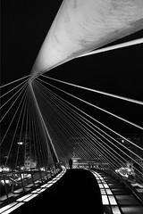 (cherco) Tags: night negro noche nocturna nocturne composition composicion canon city ciudad chica woman bridge puente bilbao light luz lines lineas lonely alone solitario solitary silhouette shadow street urban reflejos rectas profundidad depth blackandwhite blancoynegro silueta shadows calatrava