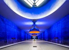 Into the blue (katrin glaesmann) Tags: münchen munich tube station ubahn metro mvg workshop u1 u7 westfriedhof architekturbüroauerweber ingomaurer 1998 lights lamps blue
