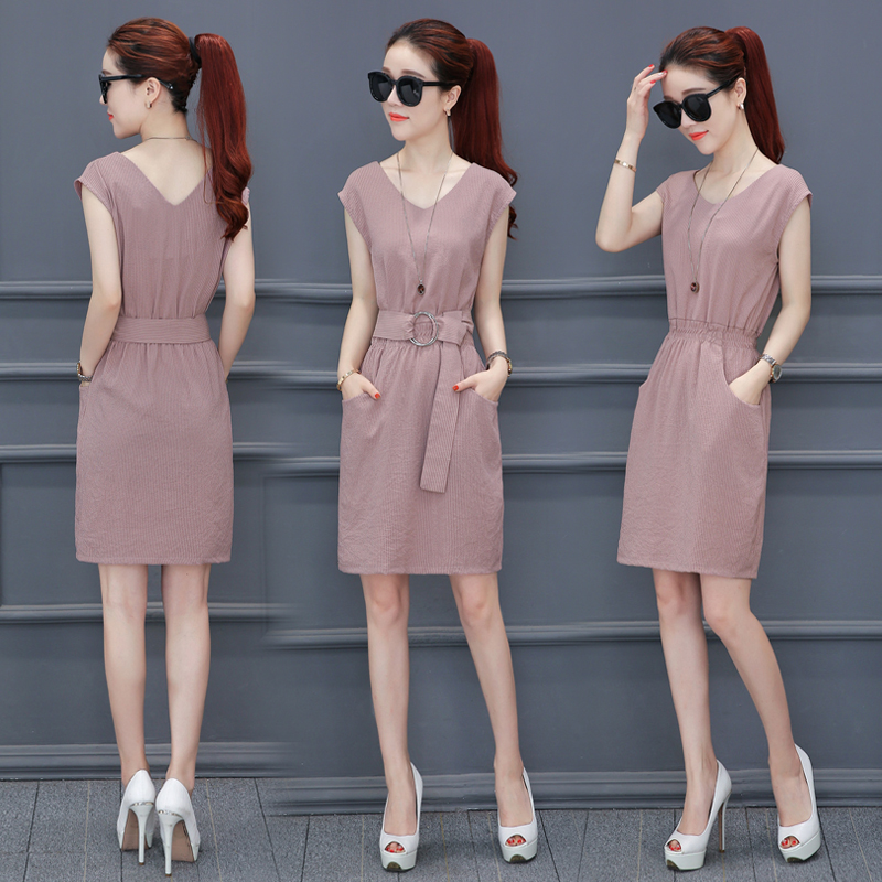 2017, the new summer fashion, Korean temperament, women's clothing, skirts, waist length, a word dress, dress slim dress