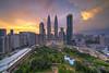 Sunset over Kuala Lumpur City Centre I (Nur Ismail Photography) Tags: kualalumpur landmarks nurismailphotography frozenlite skyscrapers buildings klccpark suriaklcc malaysia touristattractions sunset clouds
